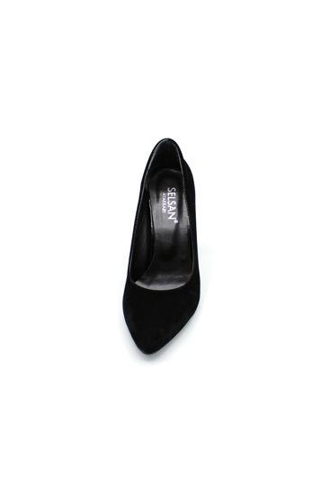Selsan Almera Kalın Topuk Stiletto Kadın Ayakkabı SİYAH SÜET resmi
