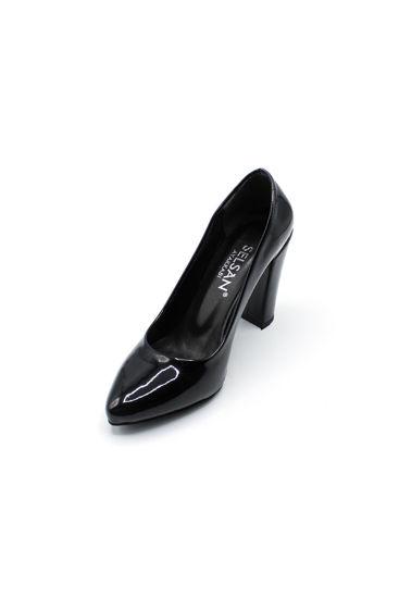 Selsan Almera Kalın Topuk Stiletto Kadın Ayakkabı SİYAH RUGAN resmi