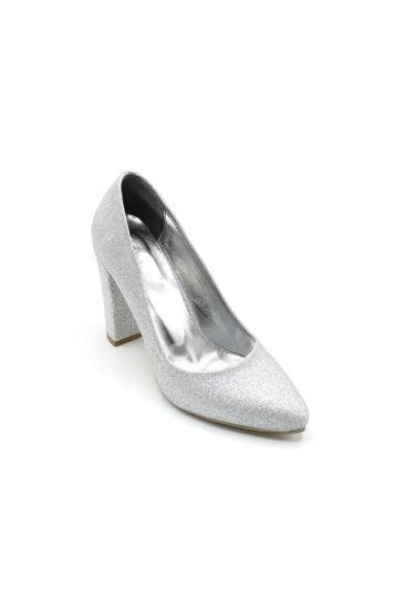 Selsan Almera Kalın Topuk Stiletto Kadın Ayakkabı GÜMÜŞ SİMLİ resmi