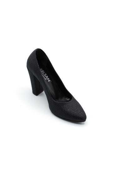 Selsan Almera Kalın Topuk Stiletto Kadın Ayakkabı SİYAH SİMLİ resmi