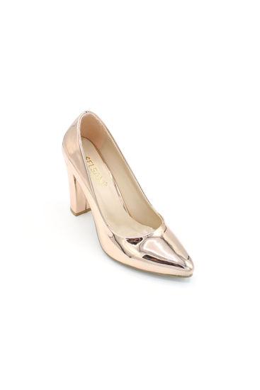 Selsan Almera Kalın Topuk Stiletto Kadın Ayakkabı BAKIR AYNA resmi