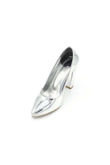 Selsan Almera Kalın Topuk Stiletto Kadın Ayakkabı GÜMÜŞ AYNALI resmi