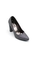 Selsan Almera Kalın Topuk Stiletto Kadın Ayakkabı PLATİN SİM