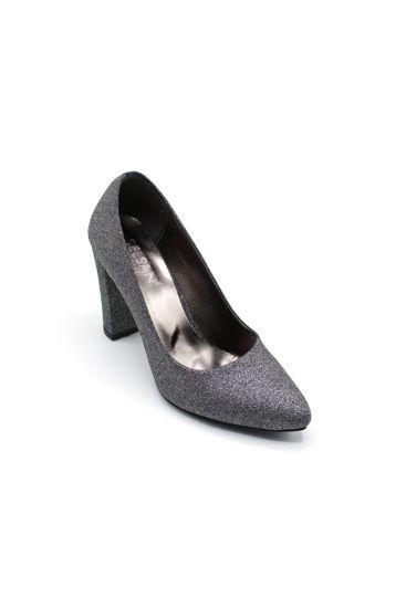 Selsan Almera Kalın Topuk Stiletto Kadın Ayakkabı PLATİN SİM resmi