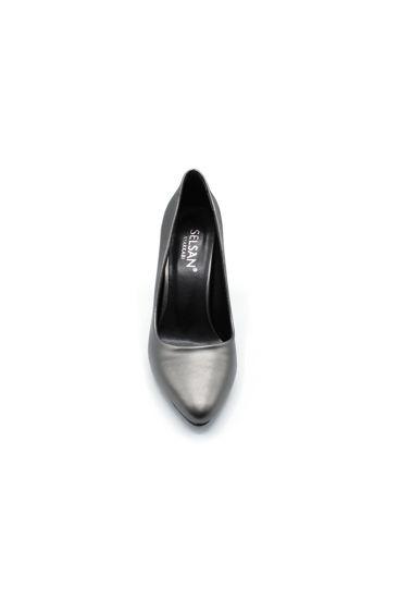 Selsan Almera Kalın Topuk Stiletto Kadın Ayakkabı PLATİN MAT resmi